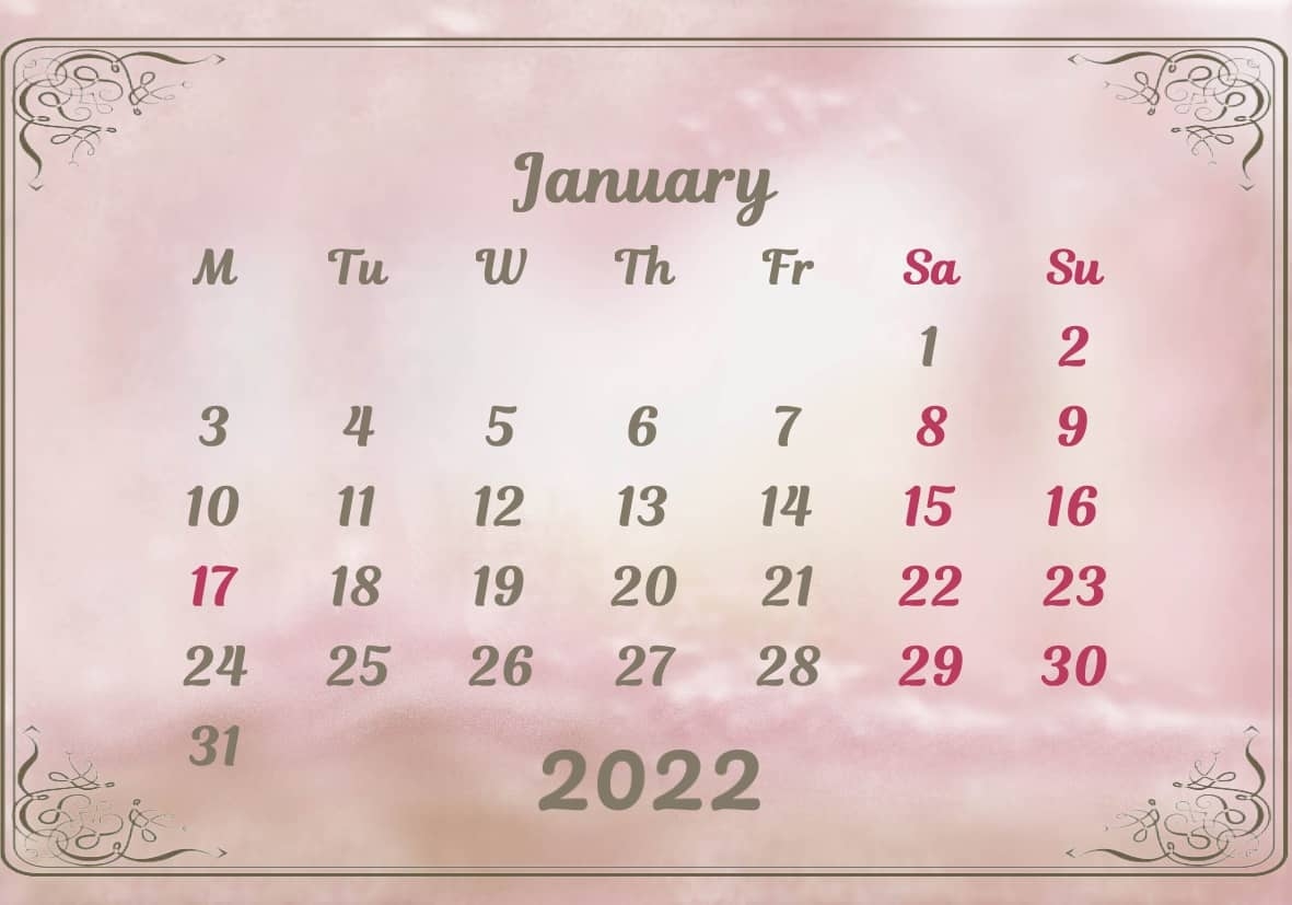 January Calendar 2022 Excel downlaod