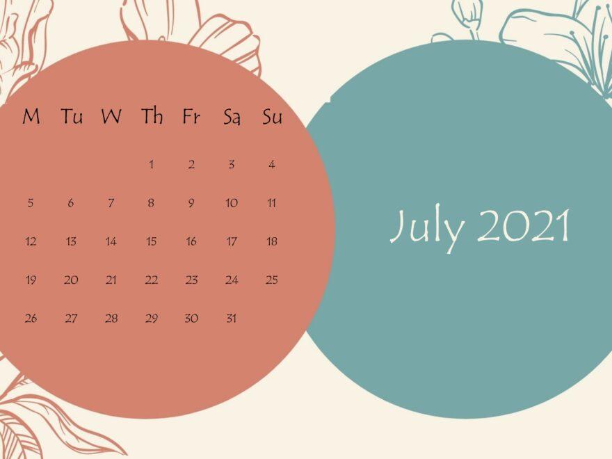 July 2021 Beautiful Floral Calendar