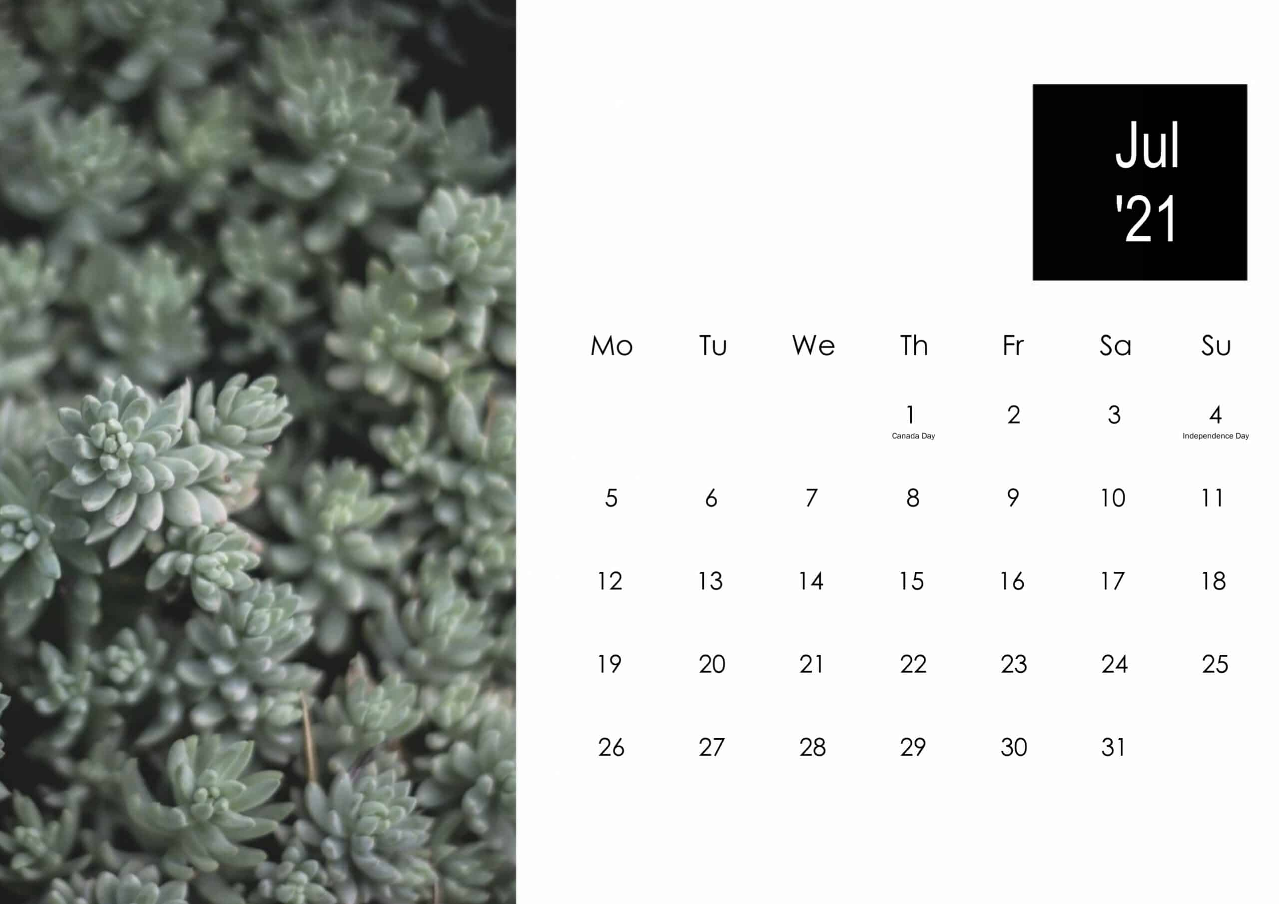 July 2021 Calendar Cute