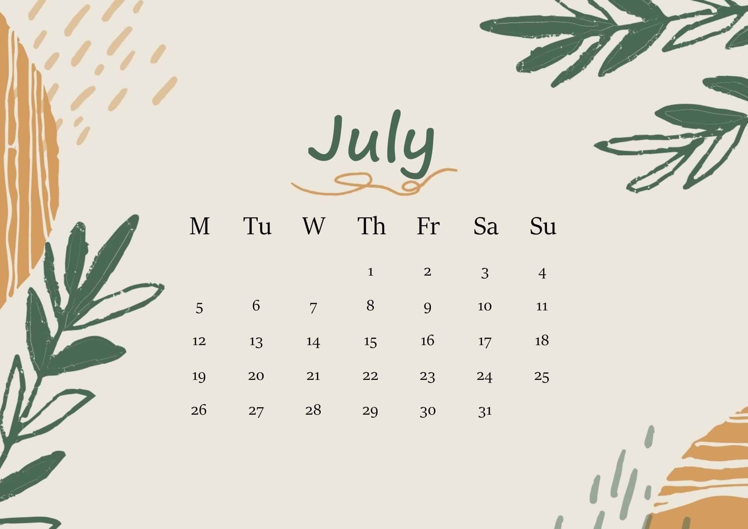July 2021 Calendar Floral
