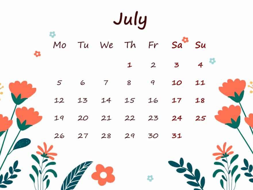 July 2021 Calendar Printable For Kids