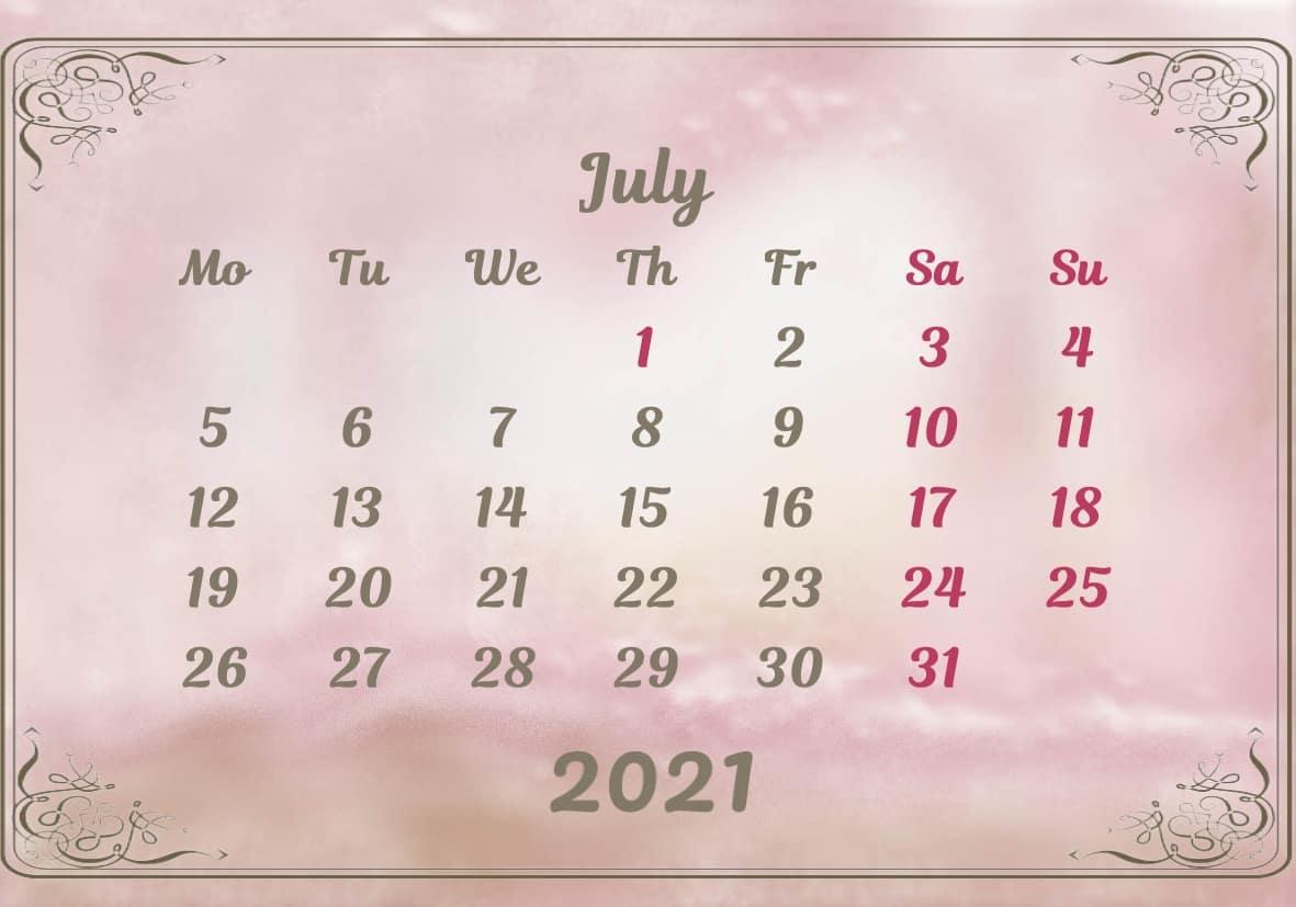 July Calendar 2021 Excel downlaod