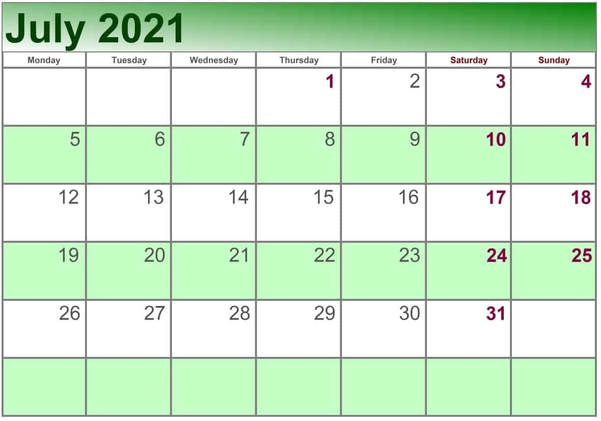 July Calendar 2021 Excel print