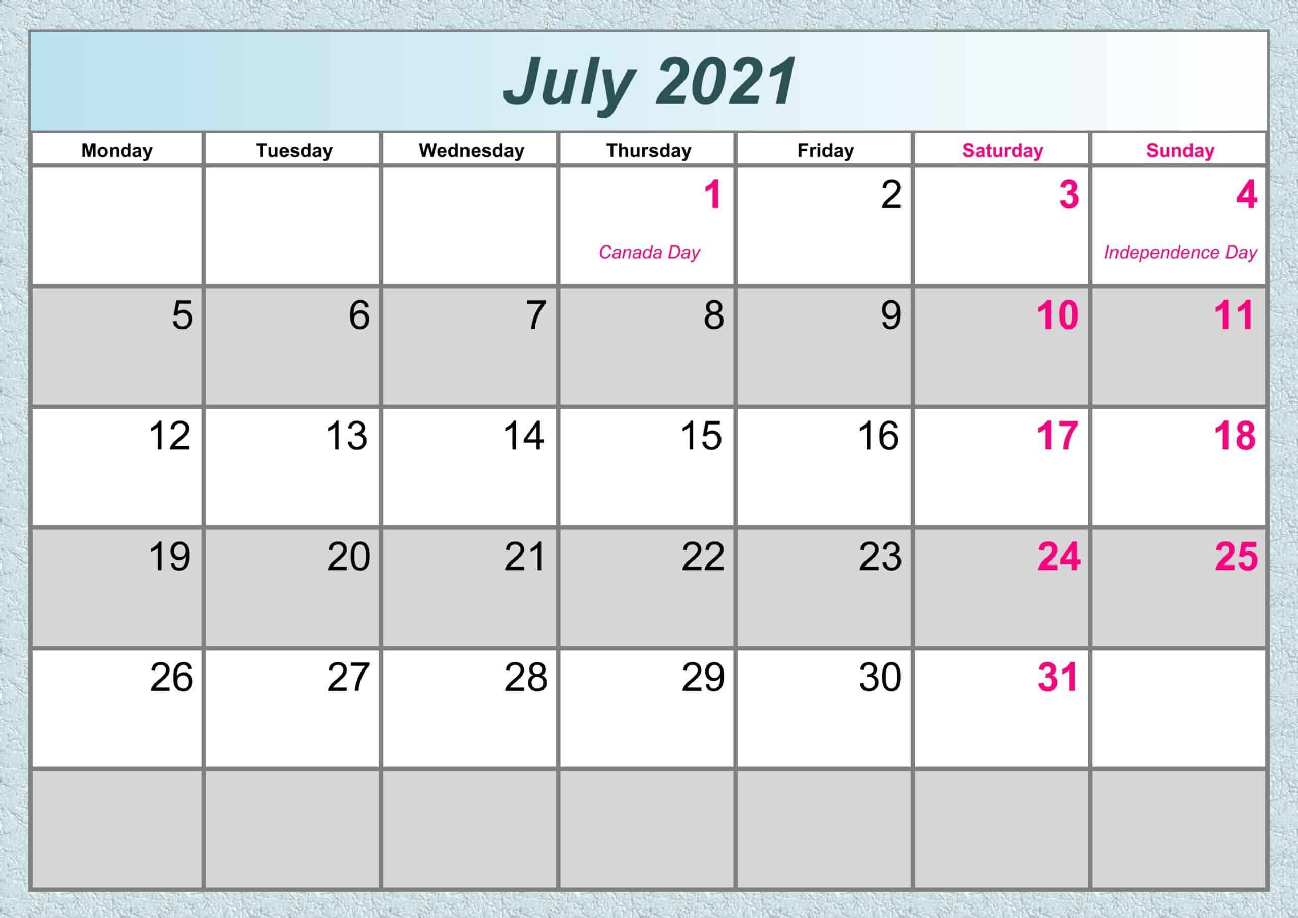 July Calendar 2021 Excel