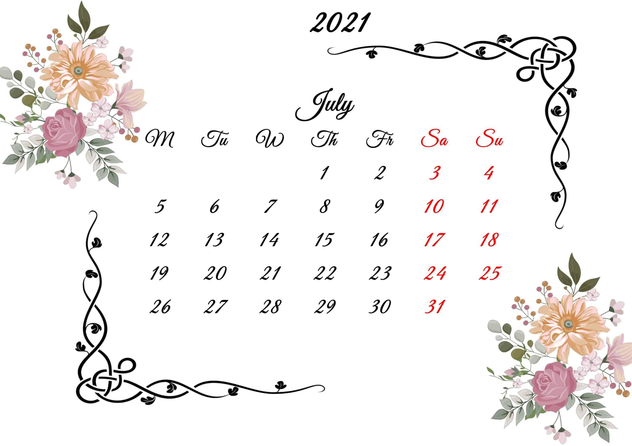 July Calendar 2021 Printable