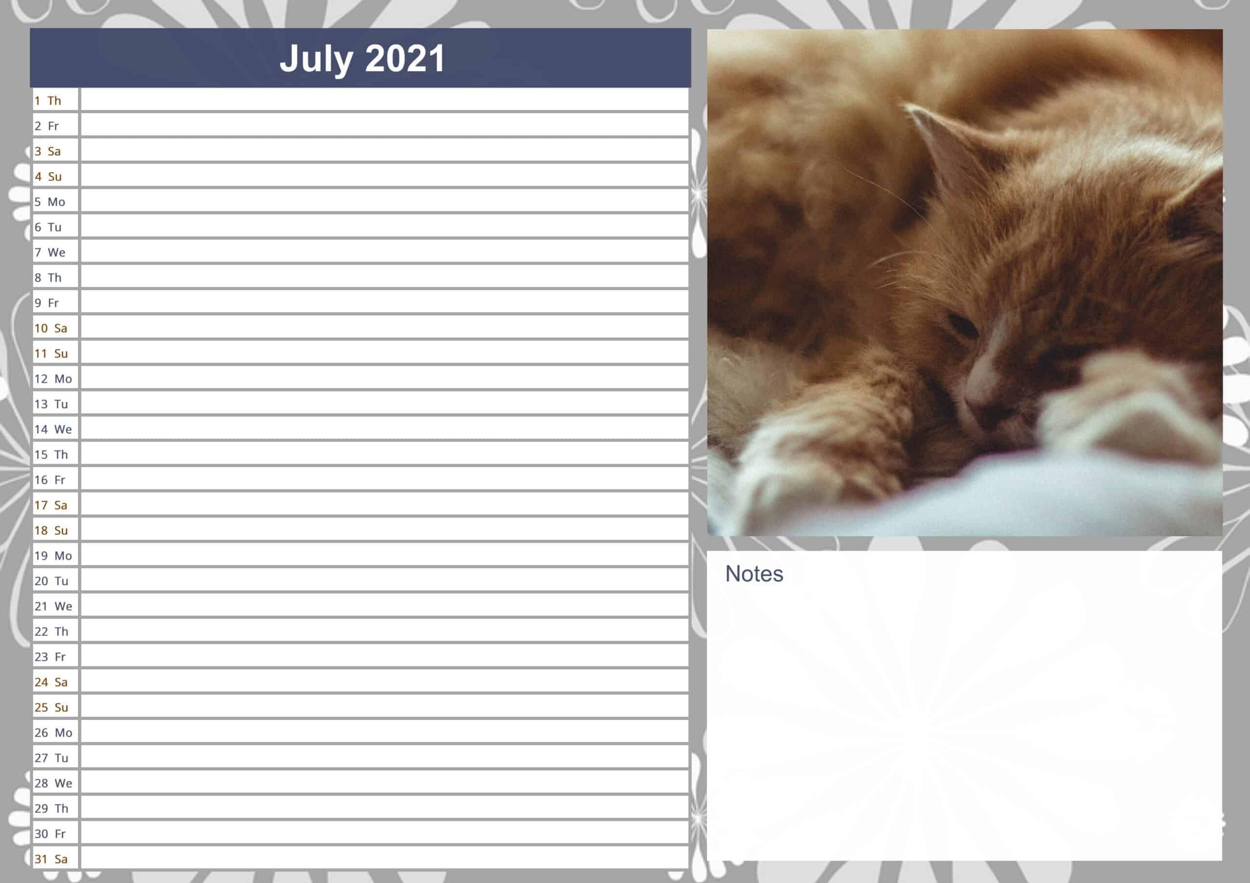July Printable 2021 Calendar free
