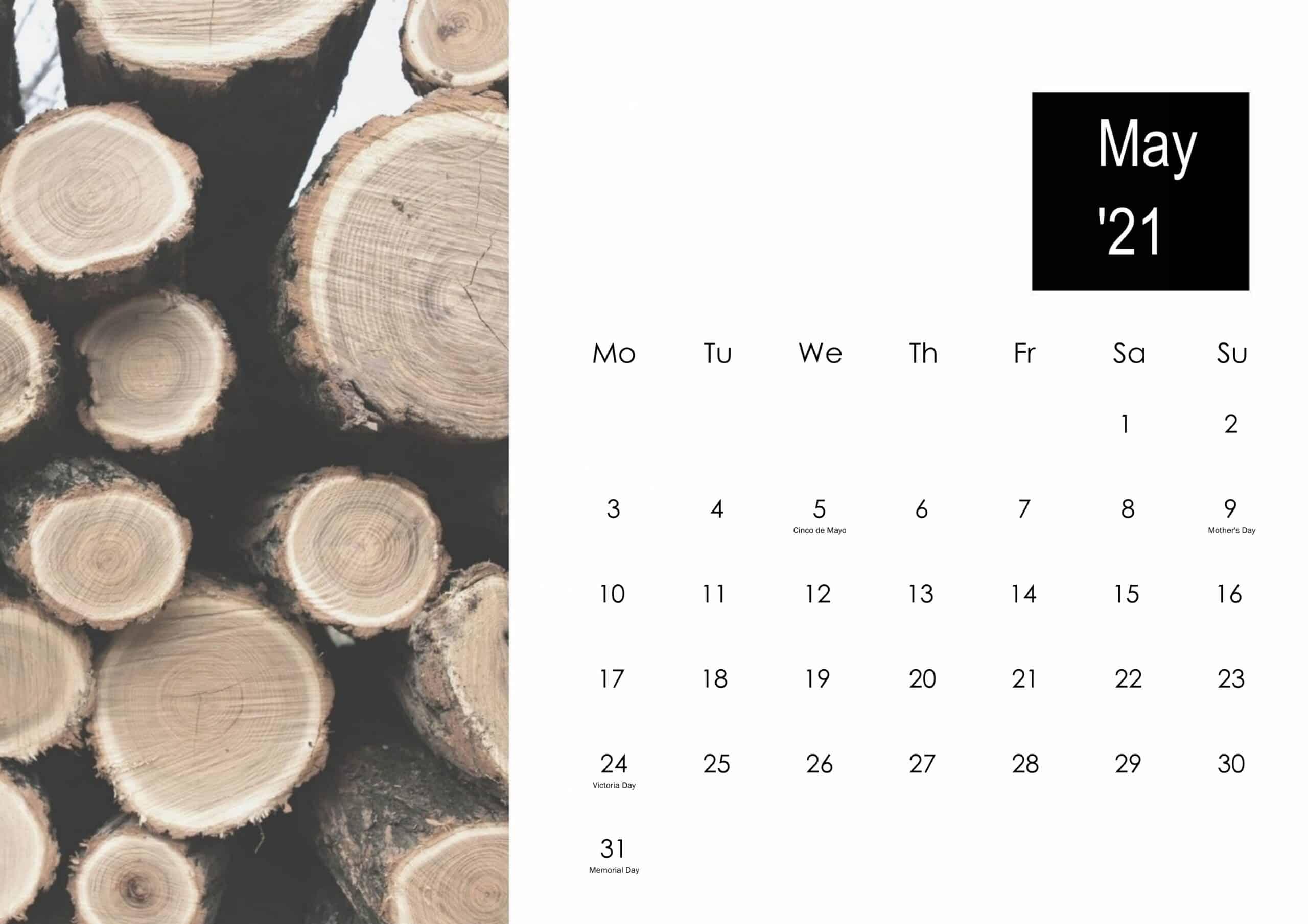 May 2021 Calendar Cute
