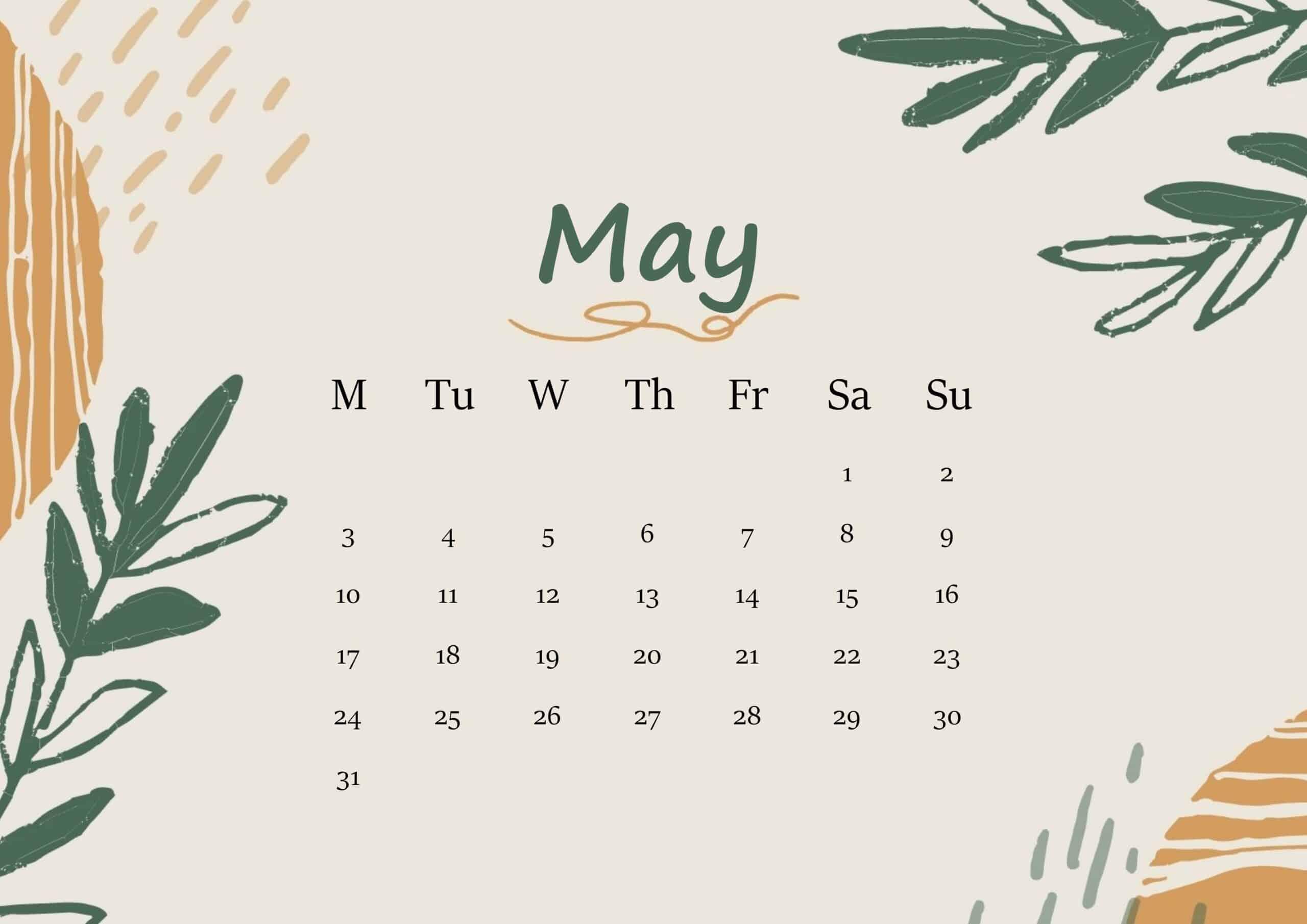 May 2021 Calendar Floral