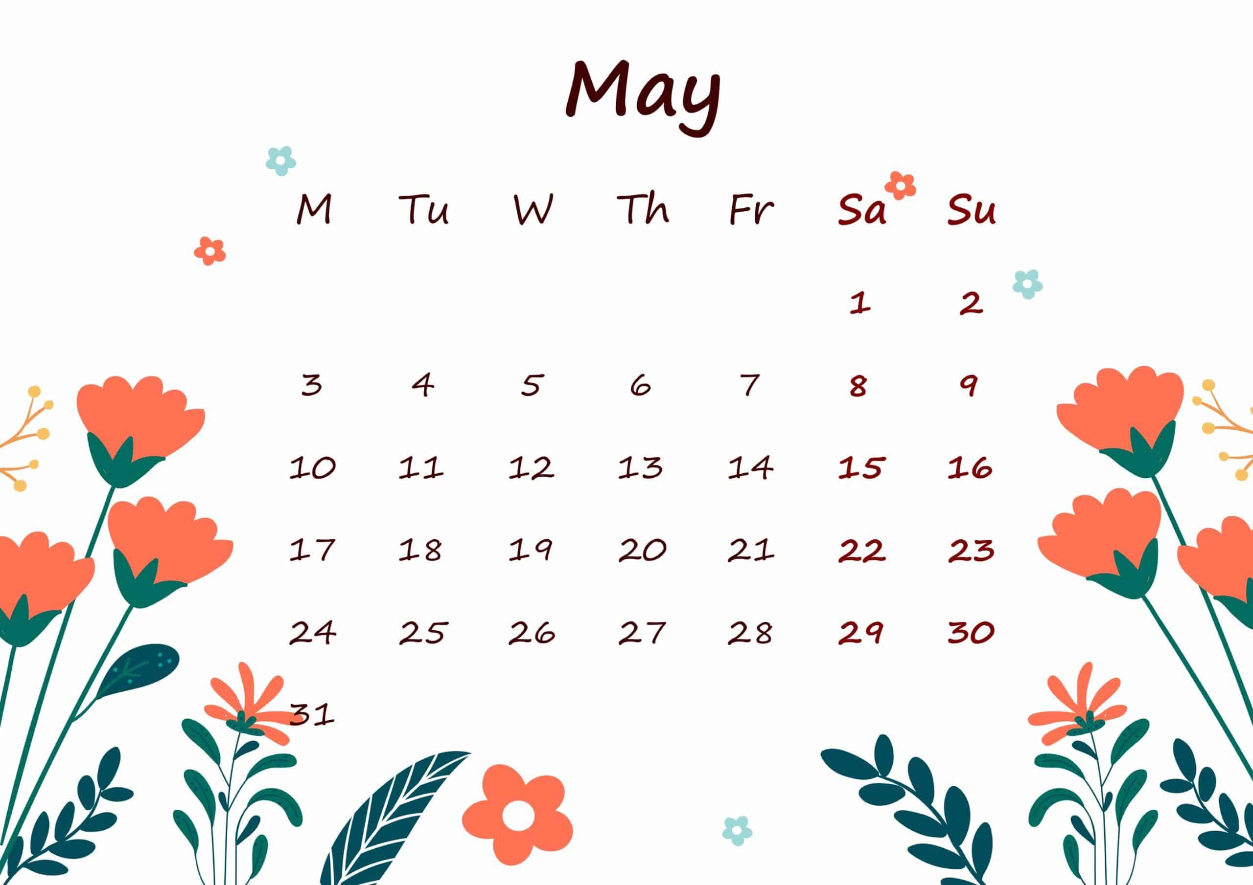 May 2021 Calendar Printable For Kids