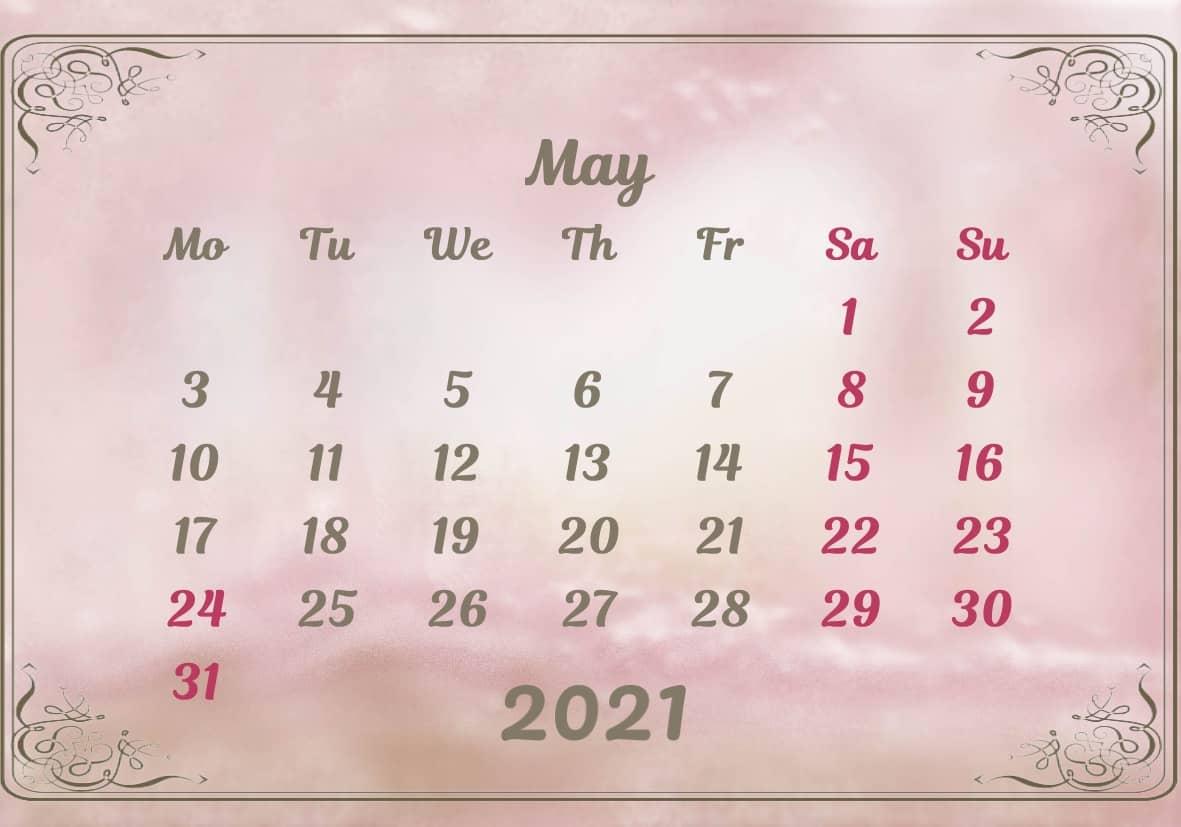 May Calendar 2021 Excel downlaod