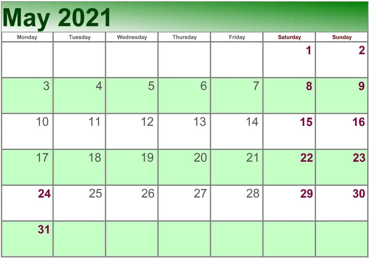May Calendar 2021 Excel print