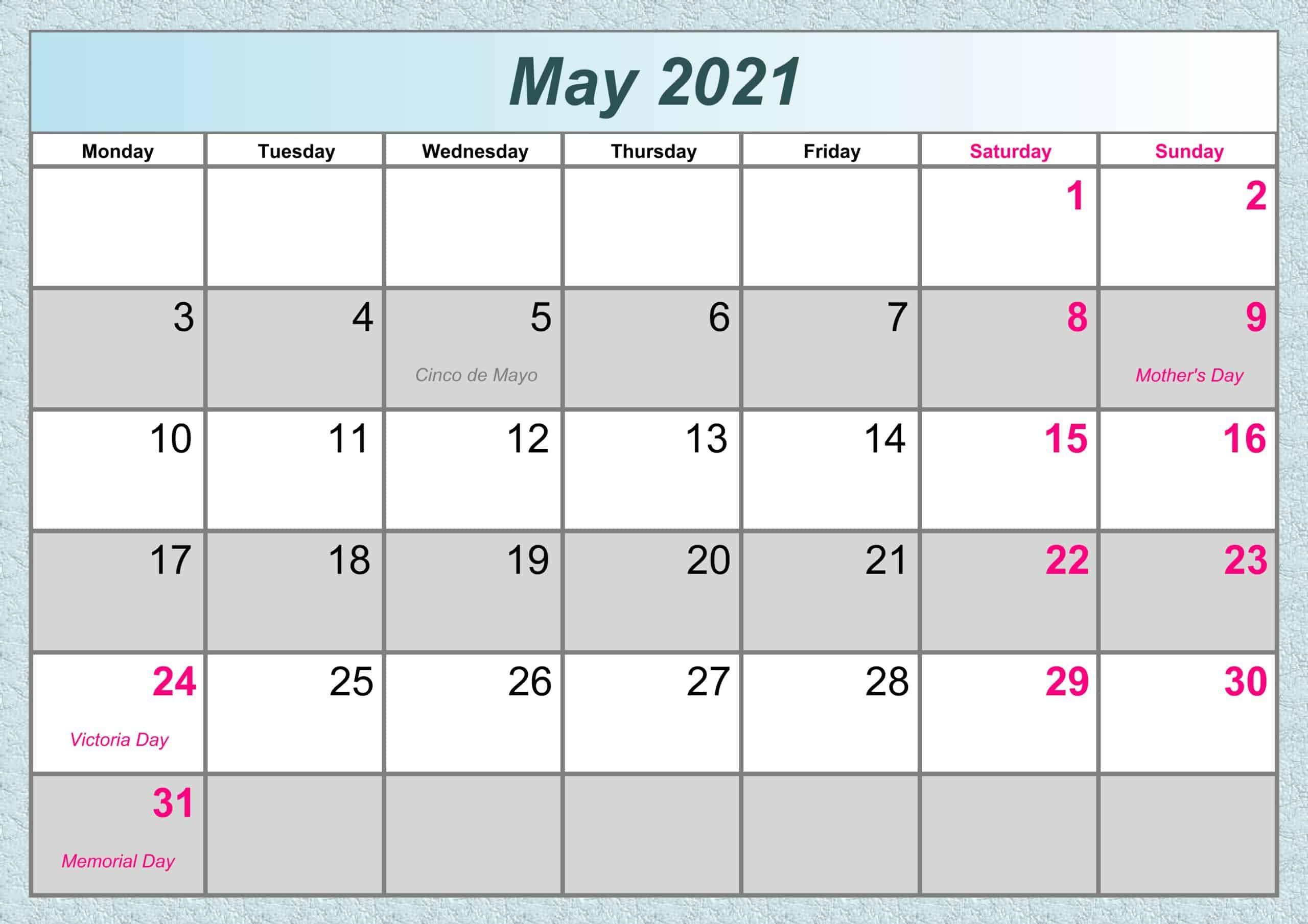 May Calendar 2021 Excel