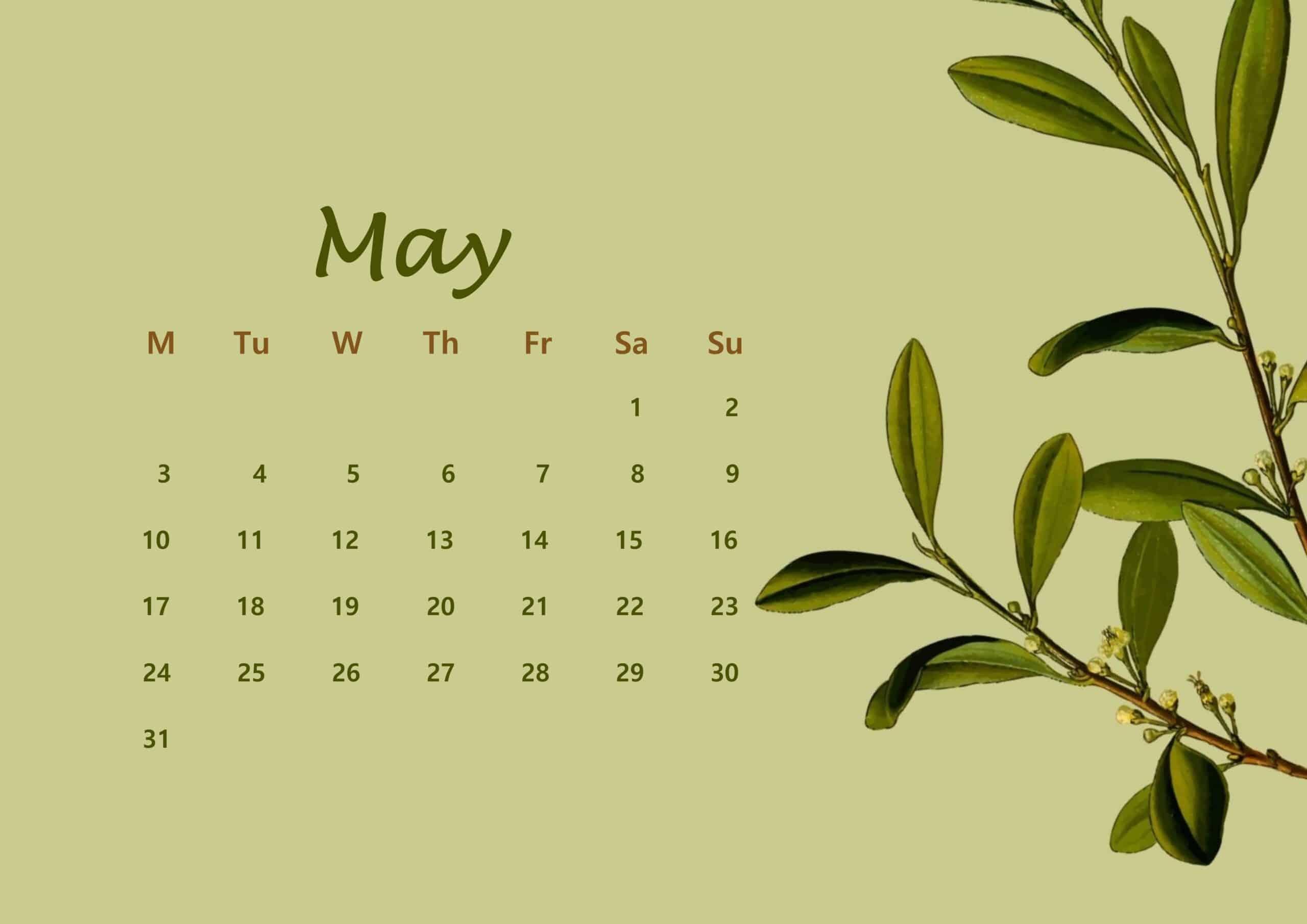 May Calendar 2021 Floral