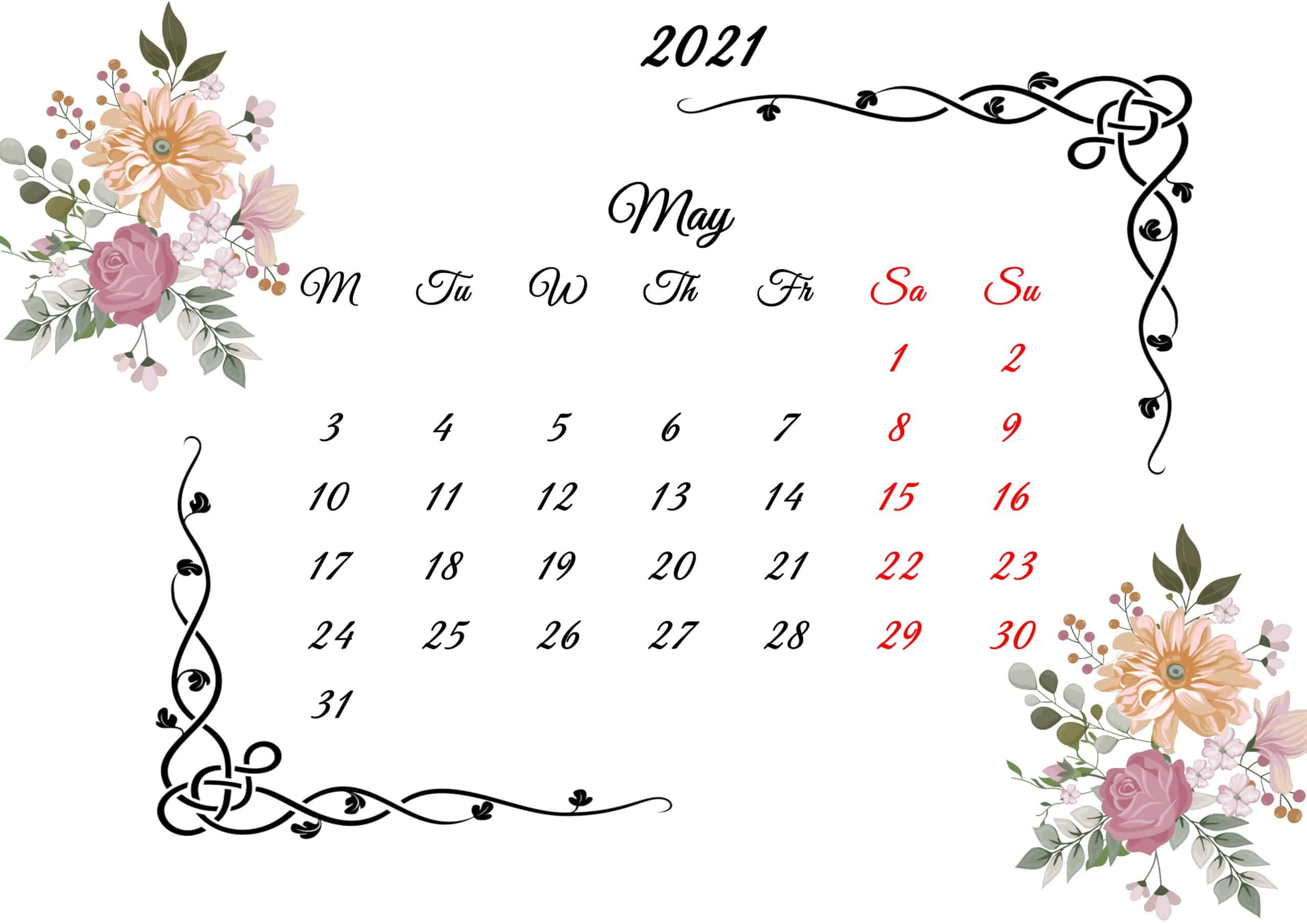 May Calendar 2021 Printable