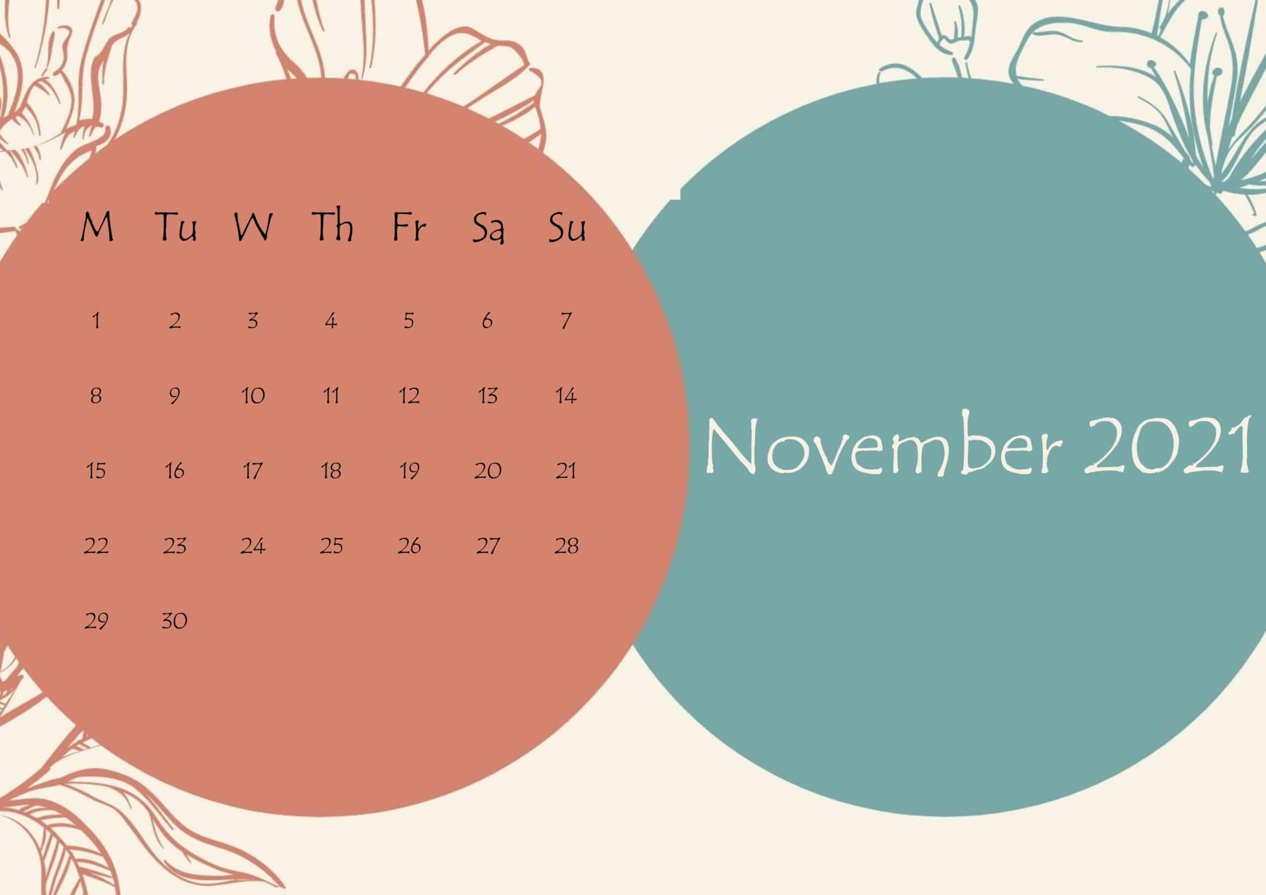 November 2021 Beautiful Floral Calendar