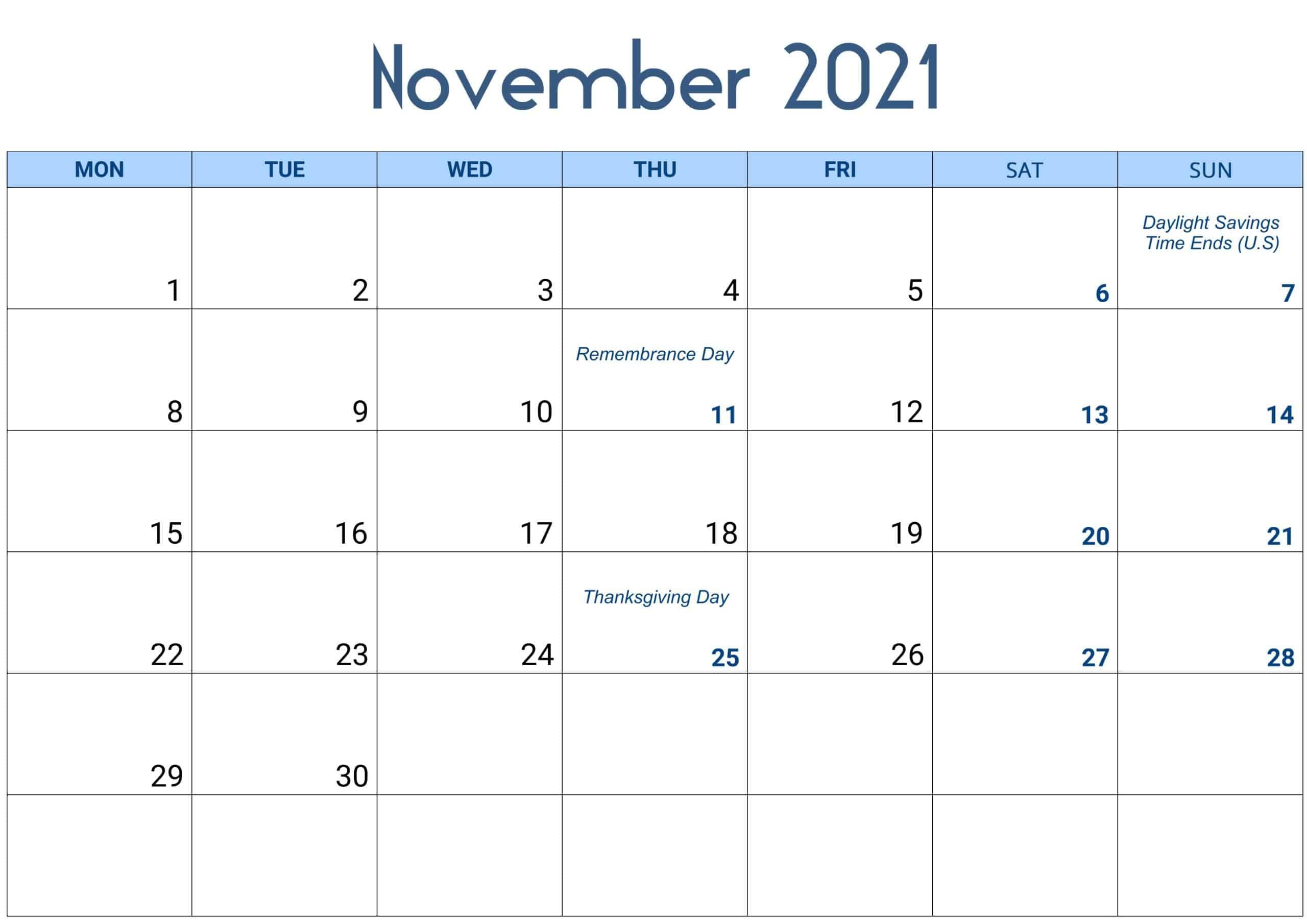 November 2021 Calendar Excel