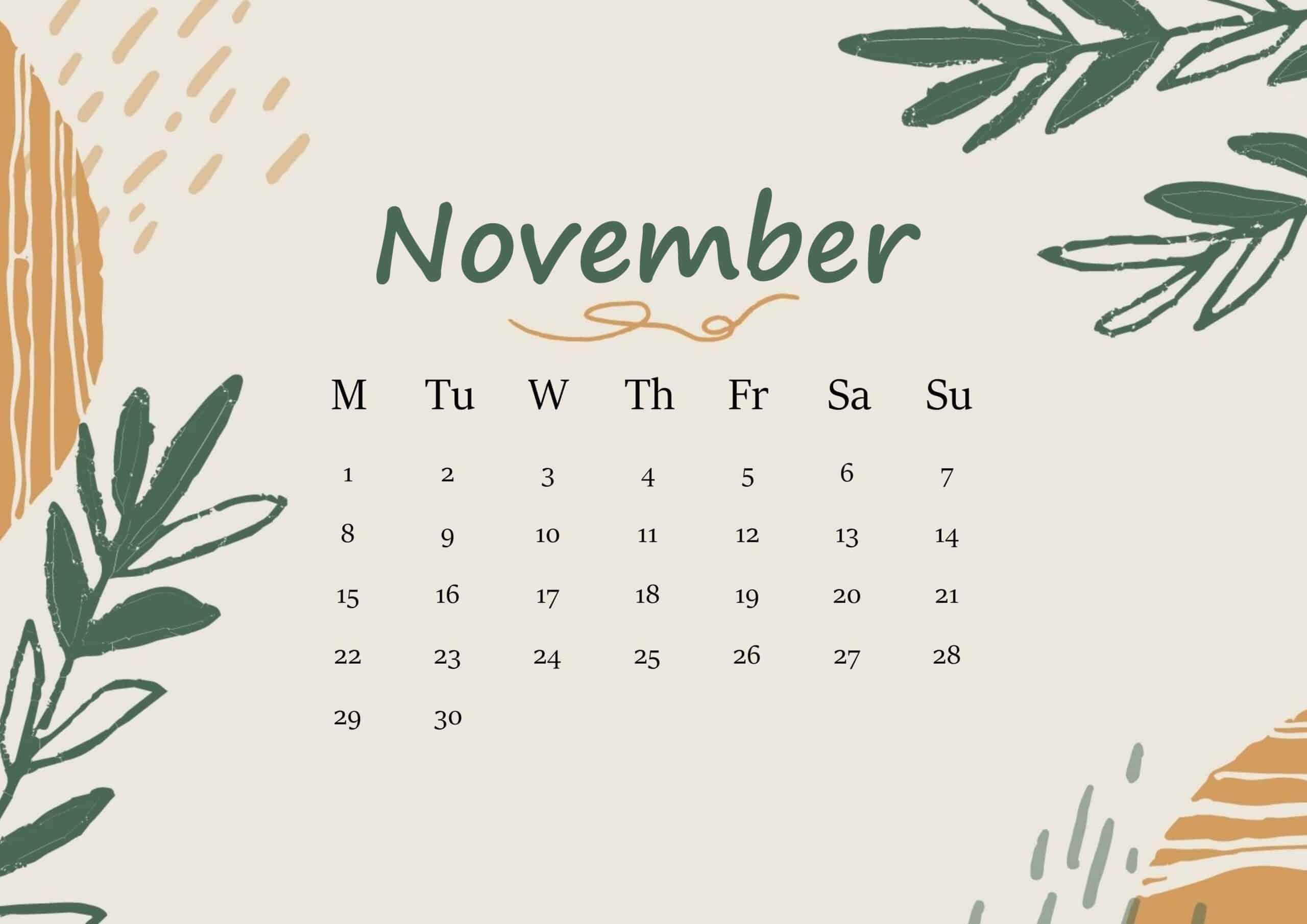 November 2021 Calendar Floral