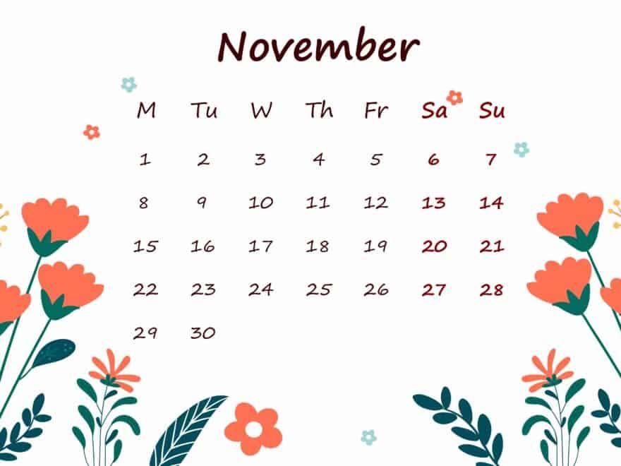 November 2021 Calendar Printable For Kids