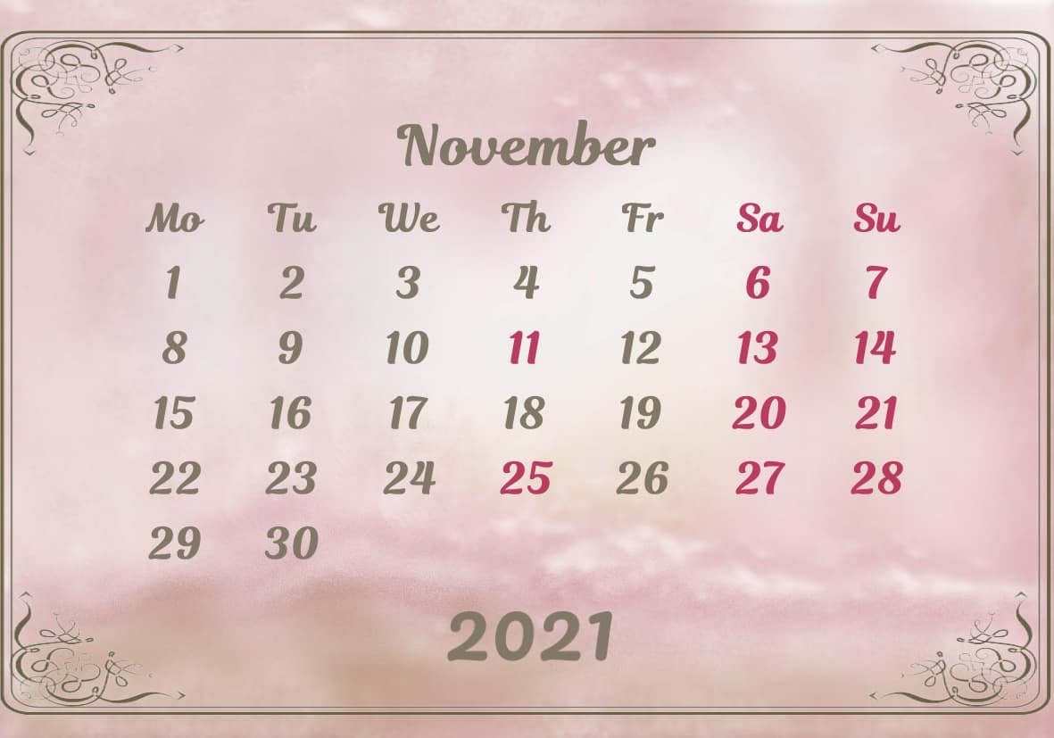 November Calendar 2021 Excel downlaod
