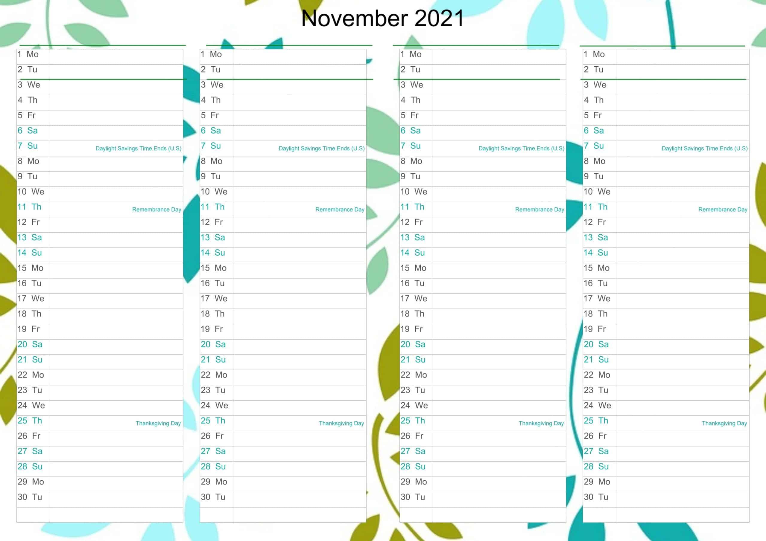 November Calendar 2021 Excel free