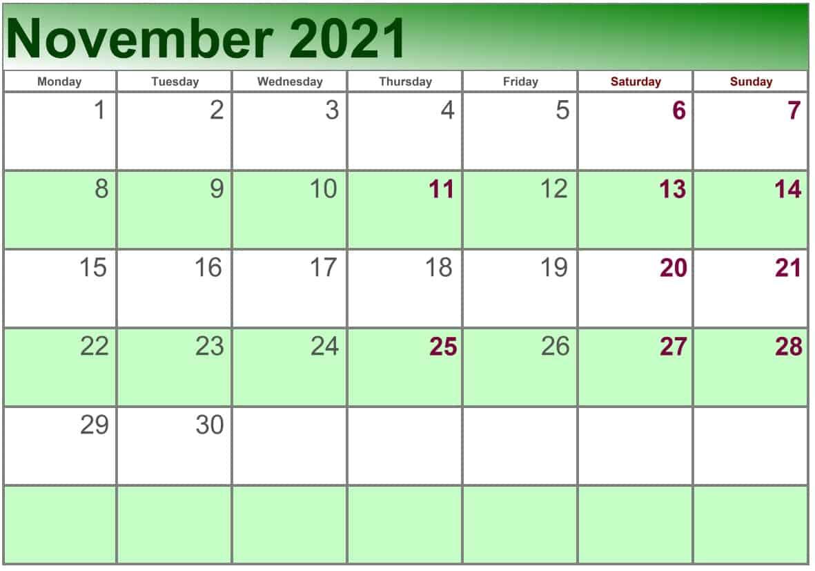 November Calendar 2021 Excel print