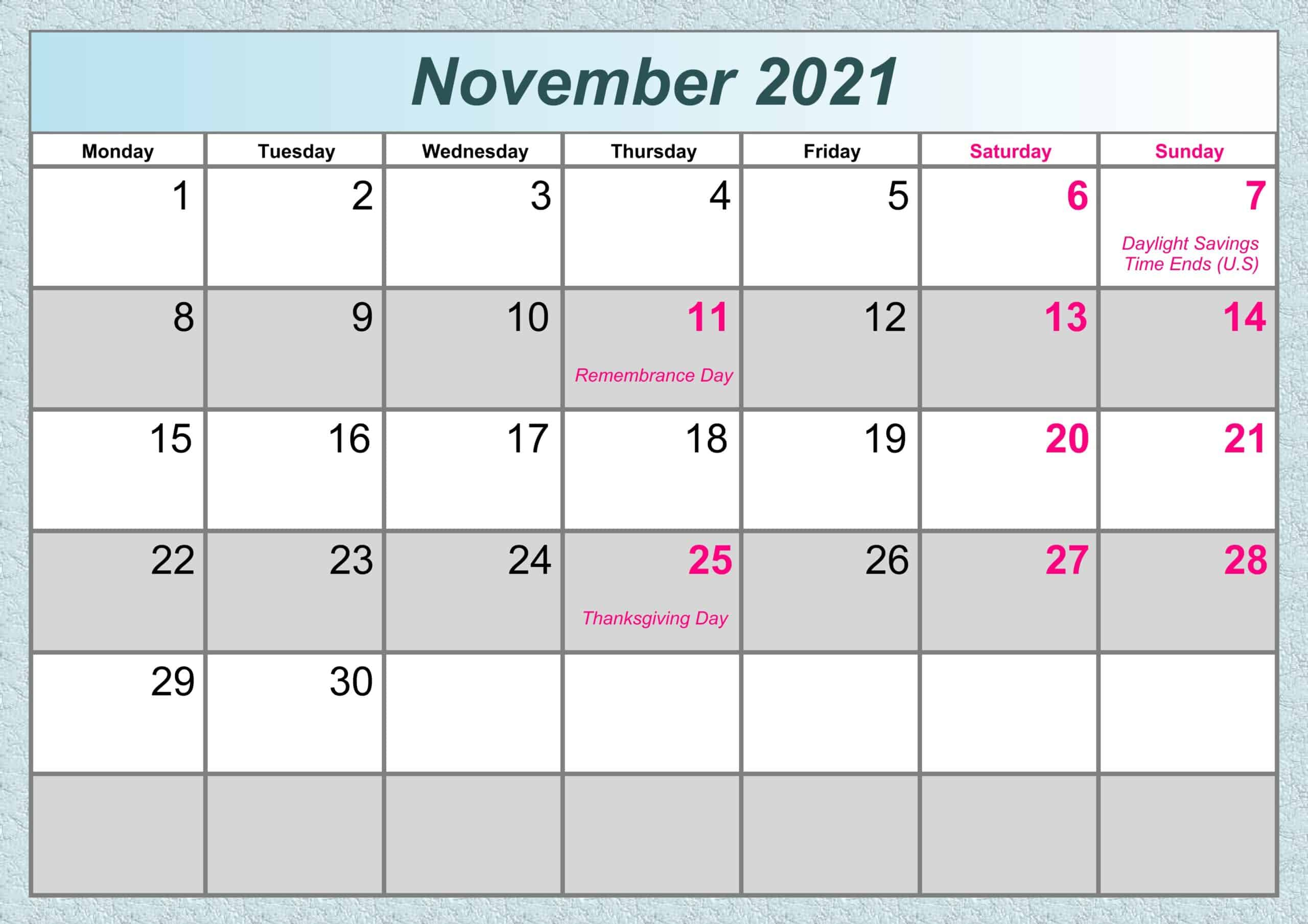November Calendar 2021 Excel