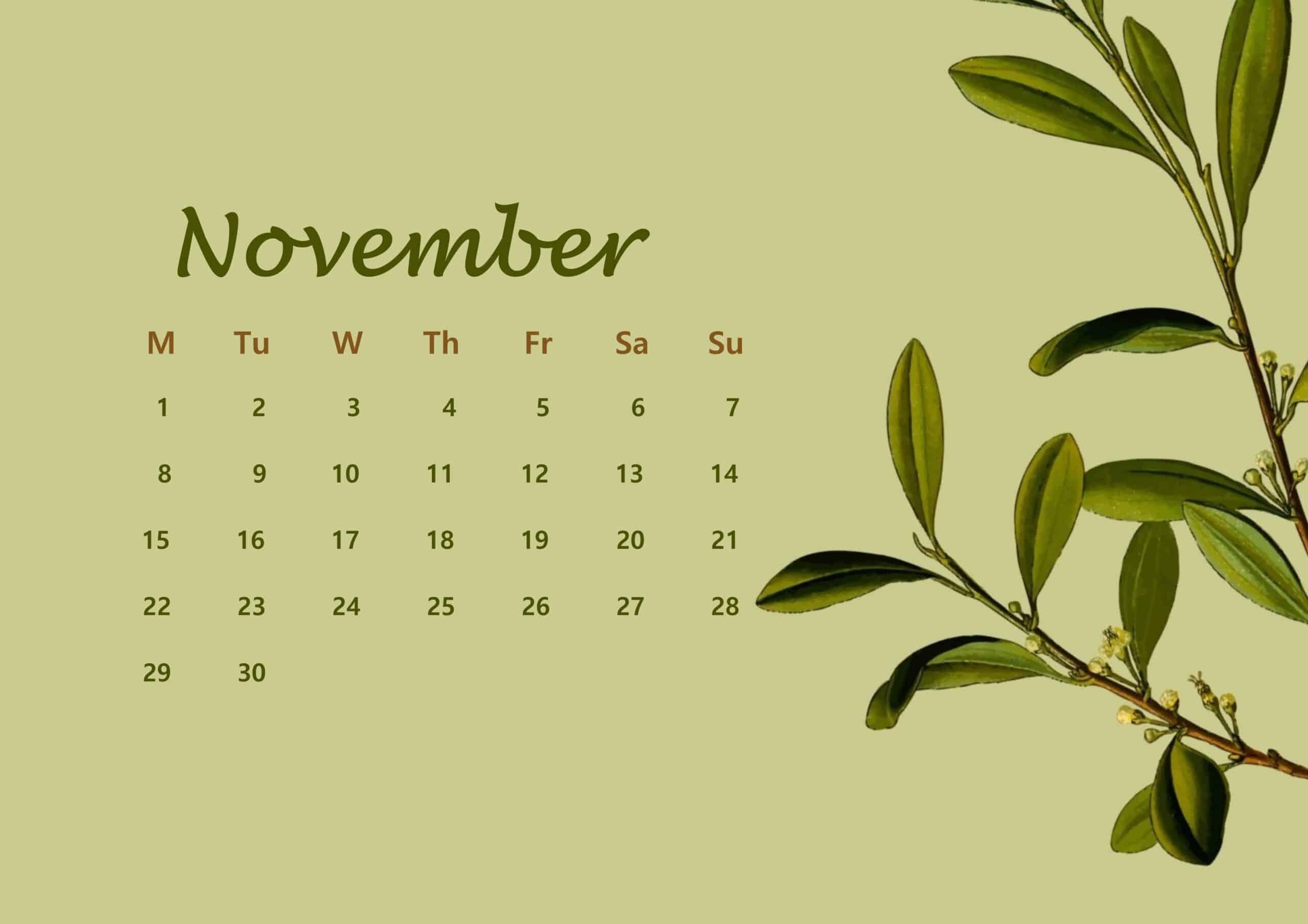 November Calendar 2021 Floral