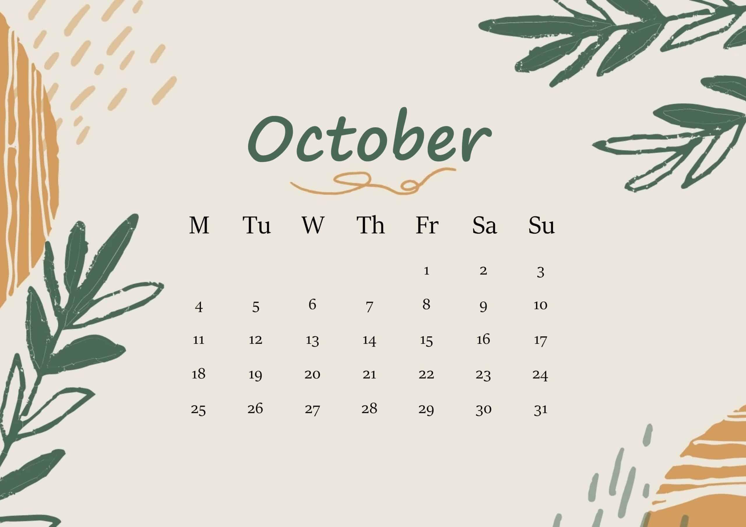 October 2021 Calendar Floral
