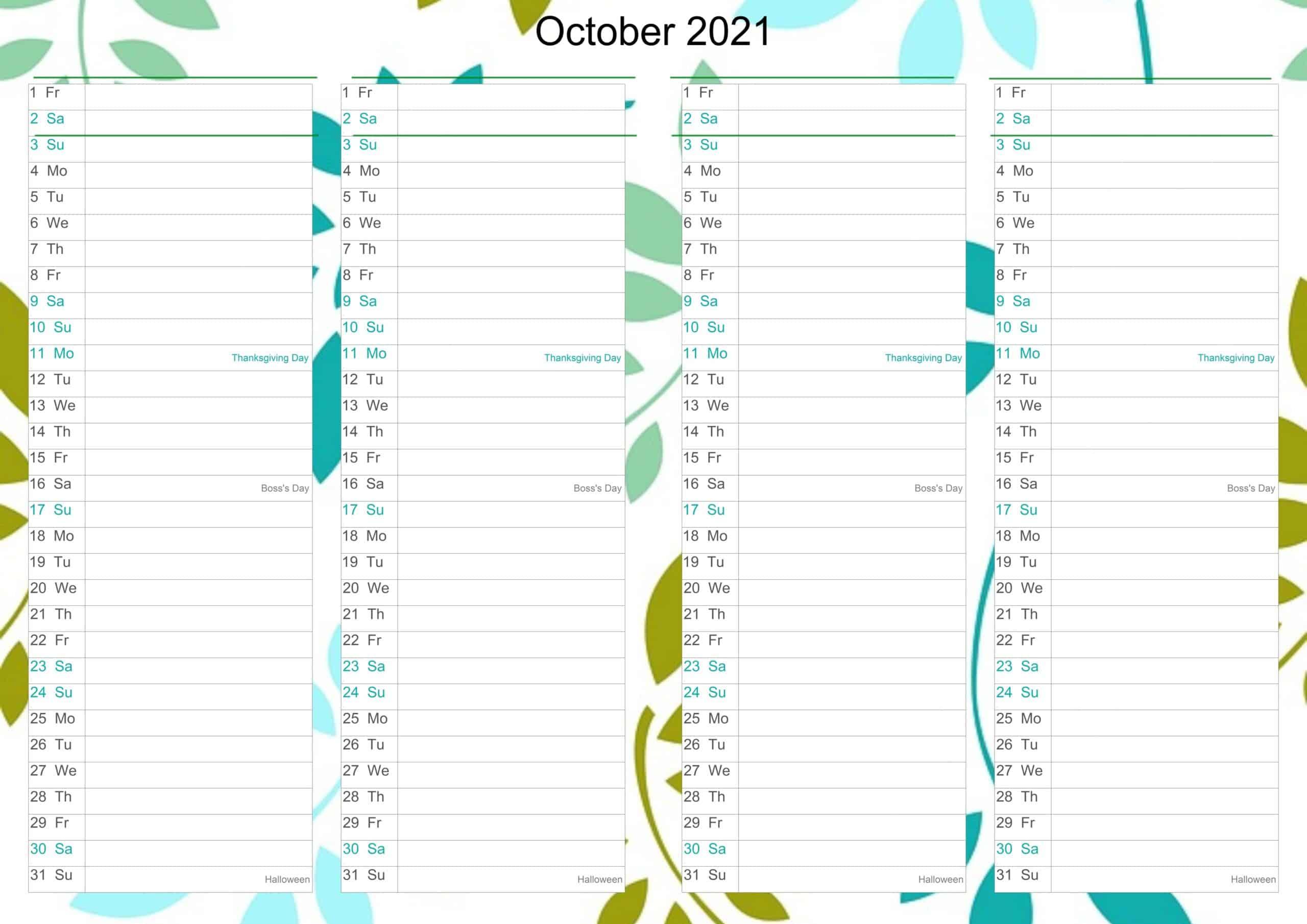 October Calendar 2021 Excel free