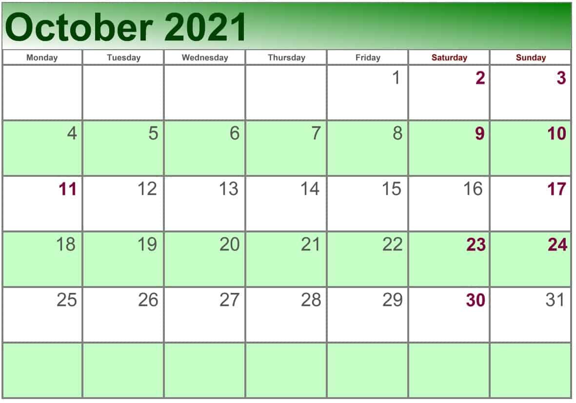 October Calendar 2021 Excel print