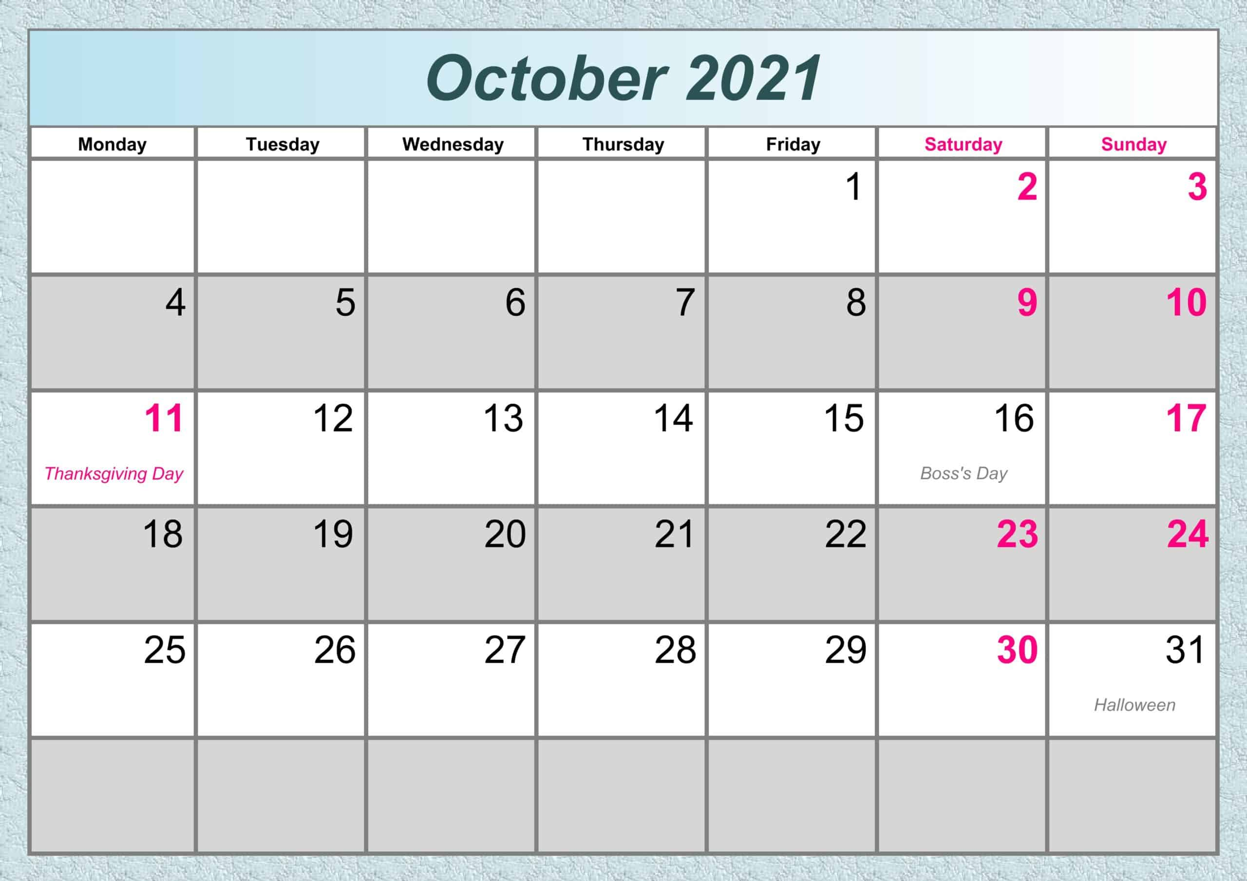 October Calendar 2021 Excel