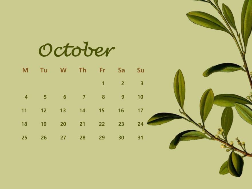 October Calendar 2021 Floral