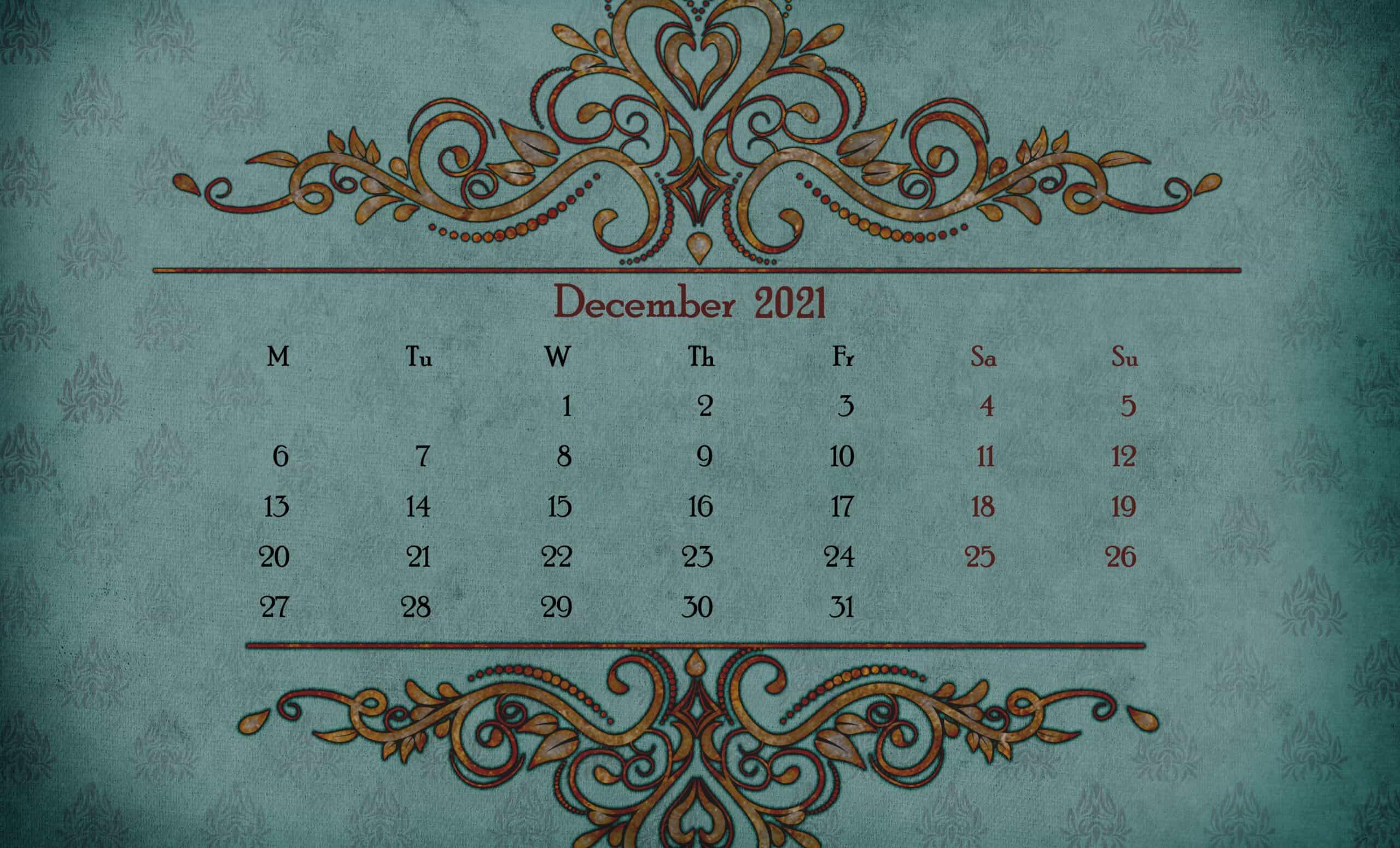 Printable Calendar 2021 December 7