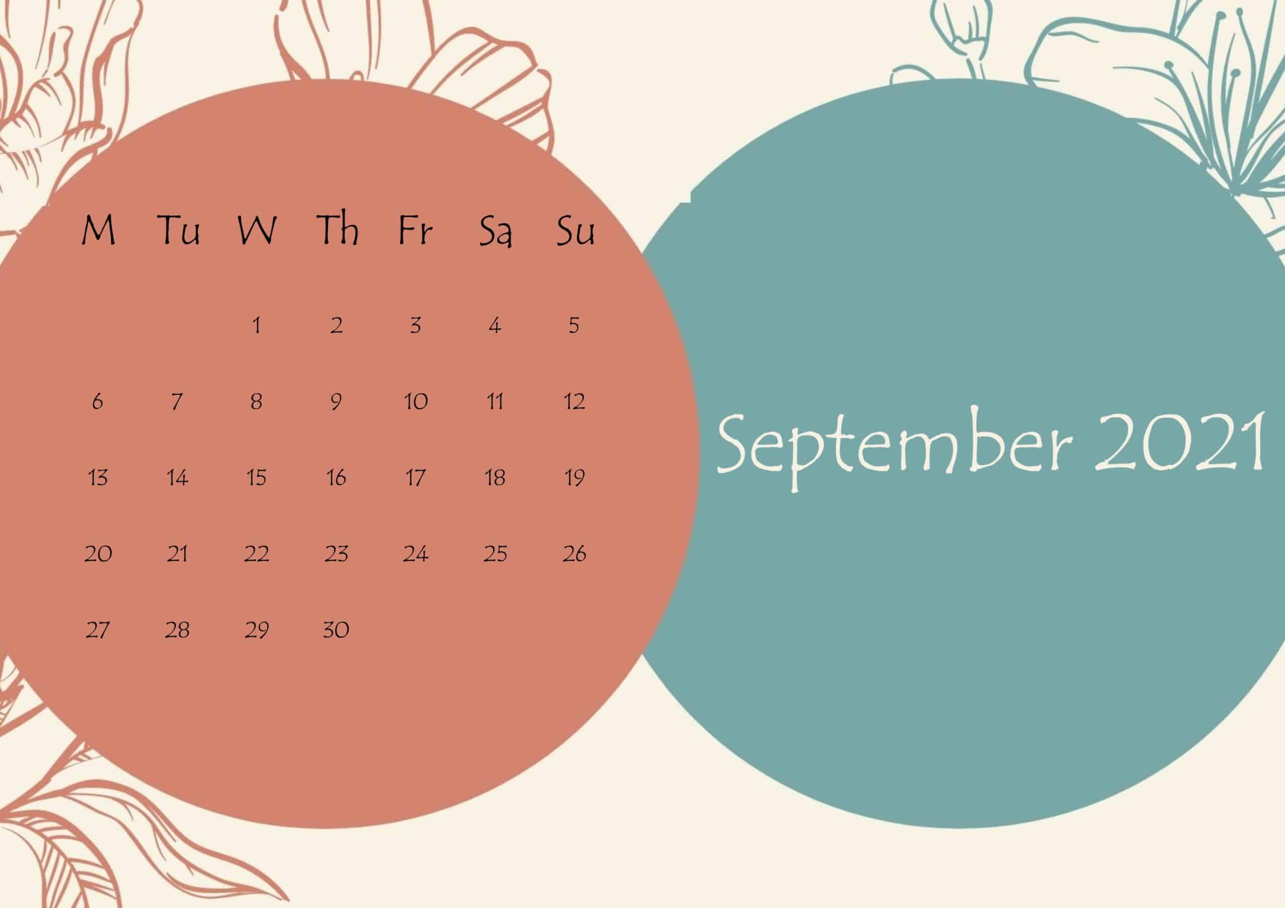 September 2021 Beautiful Floral Calendar