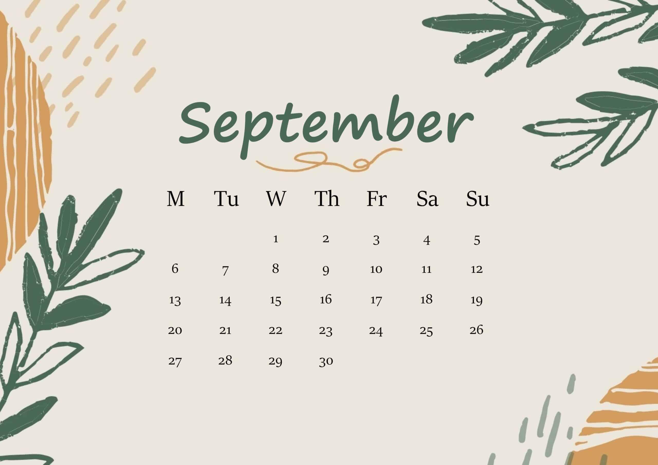 September 2021 Calendar Floral