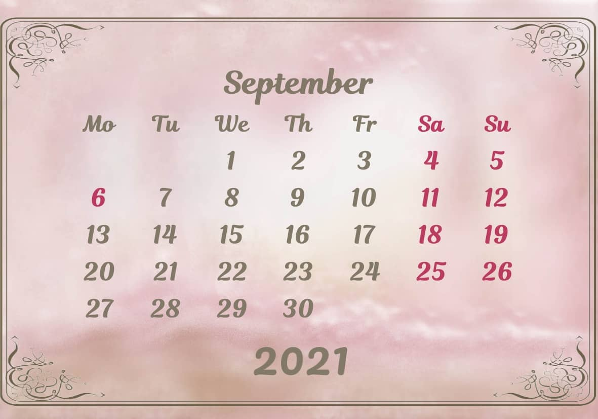 September Calendar 2021 Excel downlaod