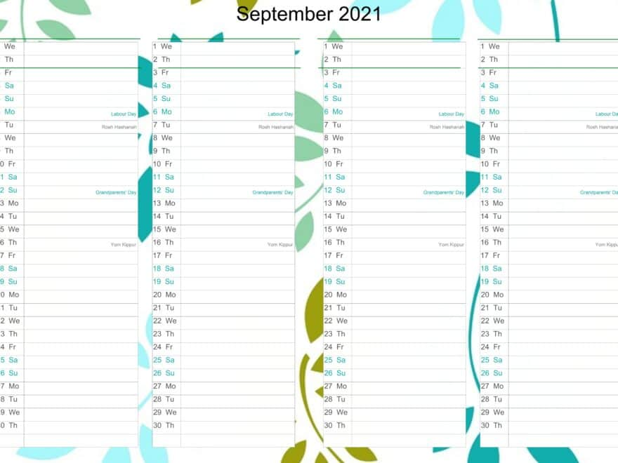 September Calendar 2021 Excel free