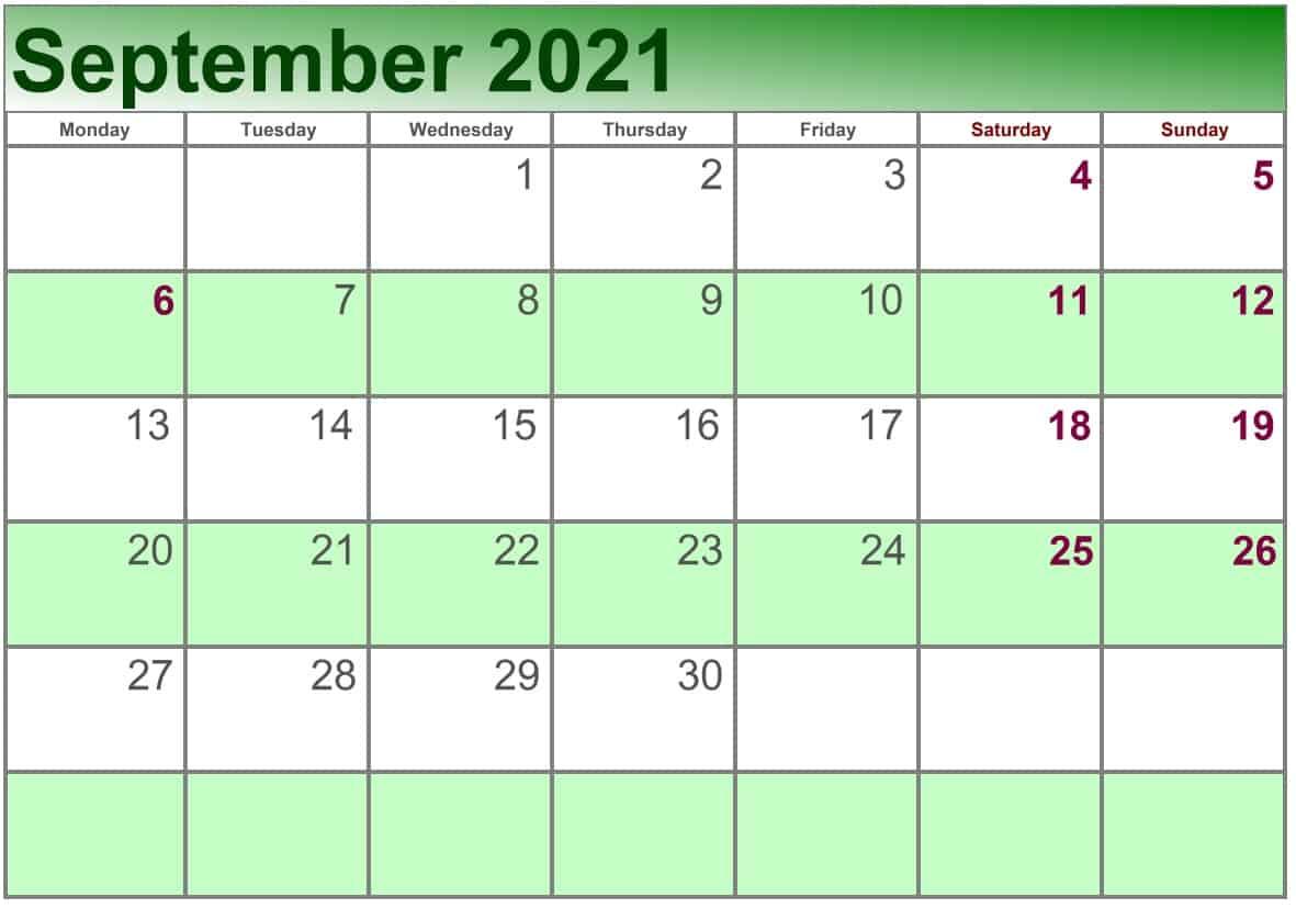 September Calendar 2021 Excel print