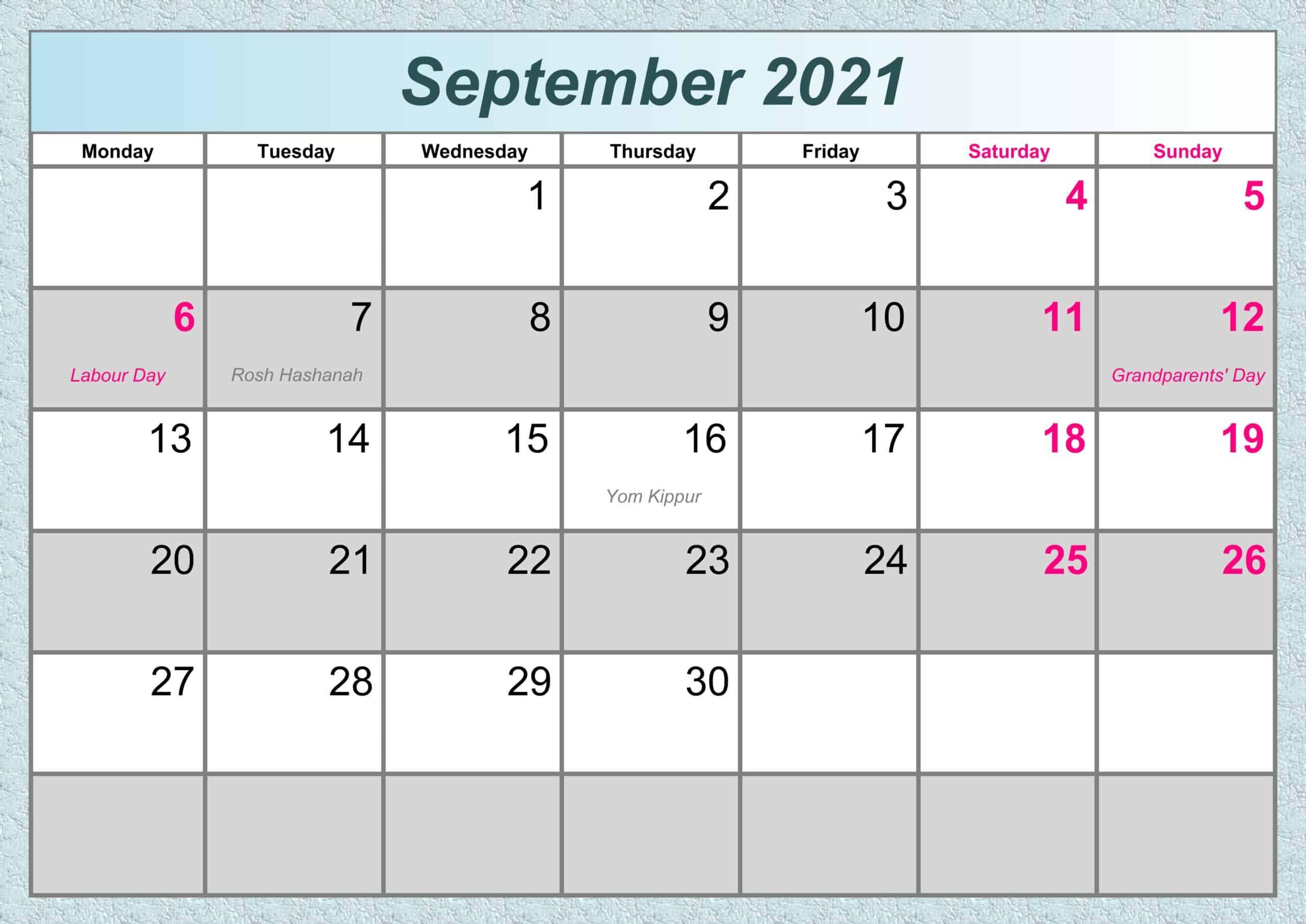 September Calendar 2021 Excel