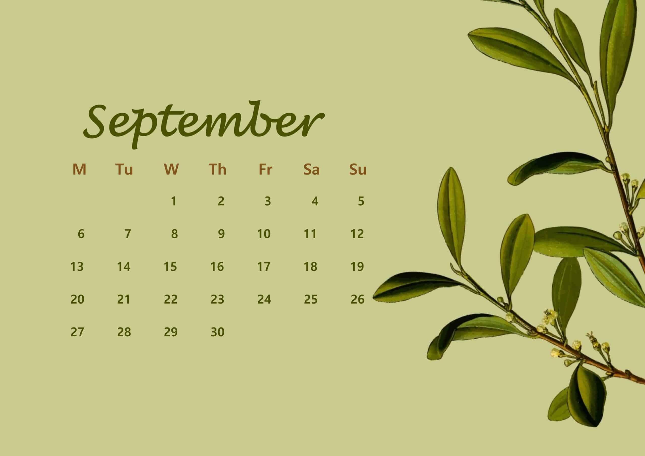 September Calendar 2021 Floral